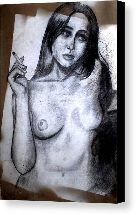 Nude Canvas Print featuring the drawing Smoker by Thomas Valentine