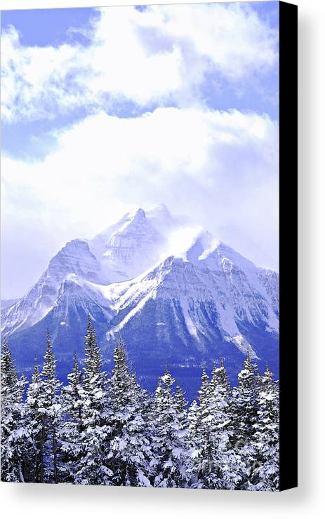 Mountain Canvas Print featuring the photograph Snowy Mountain by Elena Elisseeva