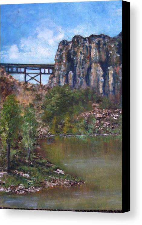 Landscape Canvas Print featuring the painting S.o.b Caynon by Darla Joy Johnson