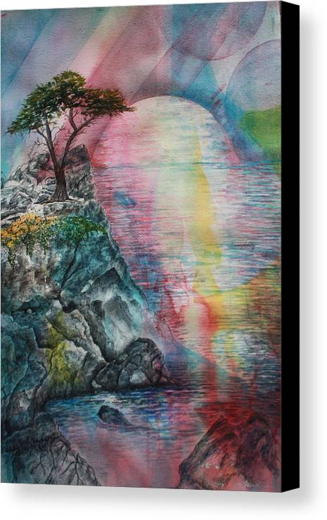 Spiritual Landscape Representing Two Souls Connected Canvas Print featuring the painting Soulmates by Patsy Sharpe