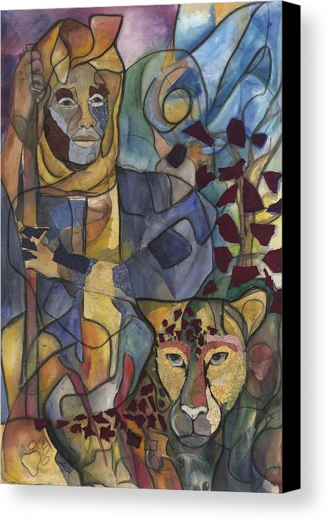 Man Canvas Print featuring the painting Spirit Tracker by Kimberly Kirk