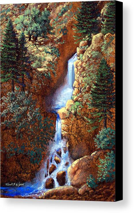 Wilderness Canvas Print featuring the painting Spring Cascade by Frank Wilson