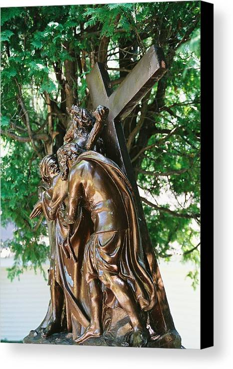 Religious Statue Canvas Print featuring the photograph Station Of The Cross by Cheryl Vatcher-Martin