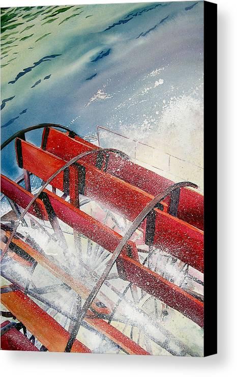 Paddlewheeler Canvas Print featuring the painting Sternwheeler Splash by Karen Stark