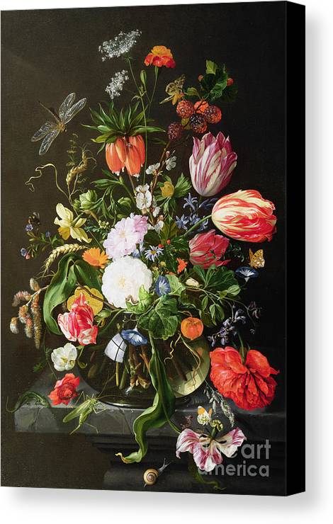 Still Canvas Print featuring the painting Still Life Of Flowers by Jan Davidsz de Heem