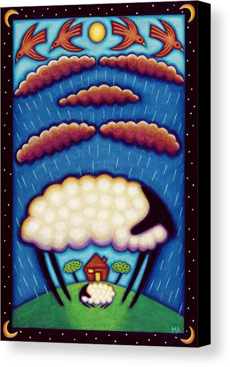 Sheep Canvas Print featuring the painting Storm Shelter by Mary Anne Nagy