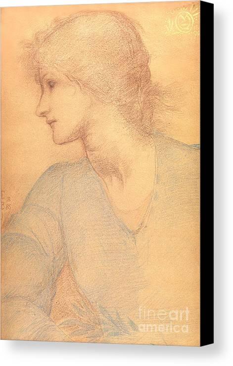 Study In Coloured Chalk Canvas Print featuring the drawing Study In Colored Chalk by Sir Edward Burne-Jones