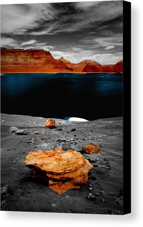 Photography Canvas Print featuring the photograph Tabletop Boulder Lake Powell by Tom Fant