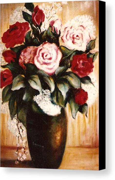 Floral Artwork Canvas Print featuring the painting Ted's Flowers by Jordana Sands