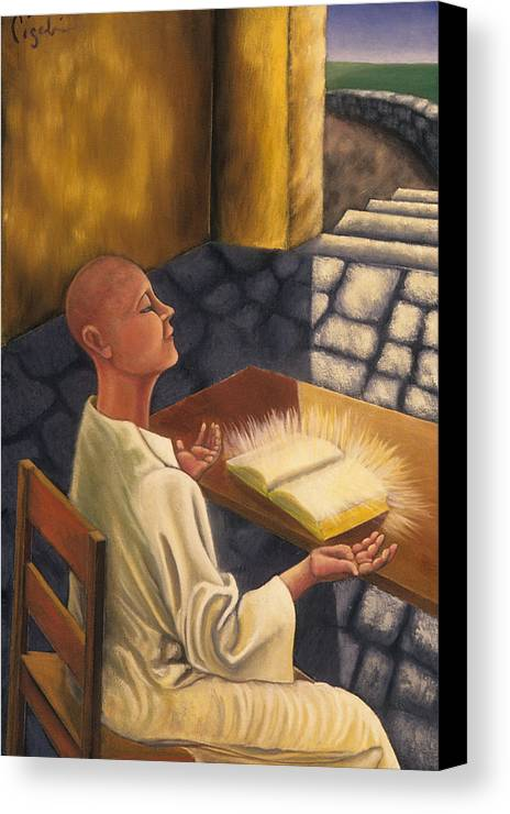 Figurative Canvas Print featuring the painting The Book Of Knowledge by Gloria Cigolini-DePietro