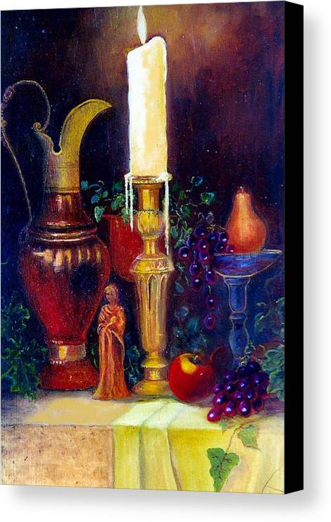 Still Life Canvas Print featuring the painting The Candlestick And Pitcher by Jeanene Stein
