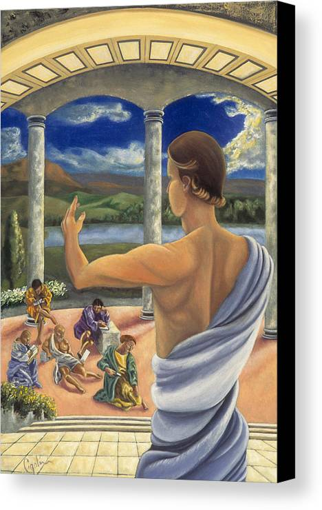 Landscape Canvas Print featuring the painting The Lesson by Gloria Cigolini-DePietro