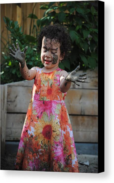 Girl Canvas Print featuring the photograph The Little Gardener by Evelina Popilian