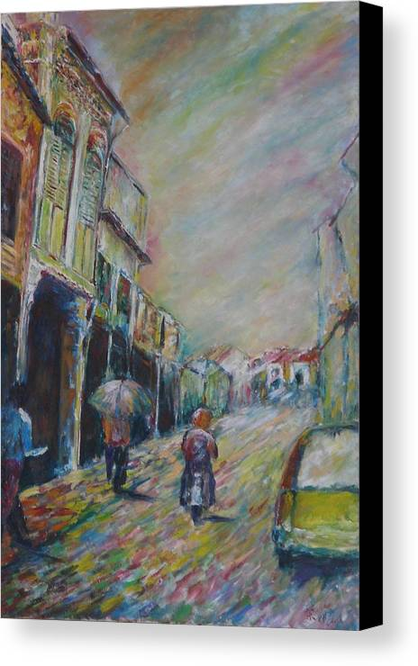 People Canvas Print featuring the painting The Malacca Street by Wendy Chua