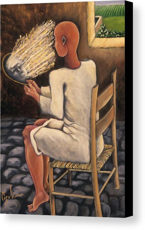 Figurative Canvas Print featuring the painting The Real Image by Gloria Cigolini-DePietro