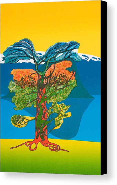 Landscape Canvas Print featuring the mixed media The Tree Of Life. From The Viking Saga. by Jarle Rosseland
