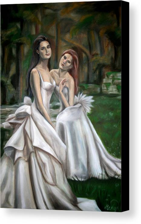 Women Canvas Print featuring the painting The Watchers by Maryn Crawford