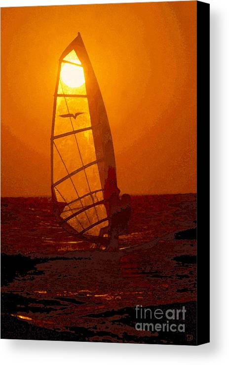 Windsurfing Canvas Print featuring the painting The Windsurfer by David Lee Thompson