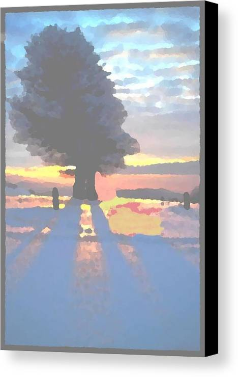 Sky.clouds.winter.sunset.snow.shadow.sunrays.evening Light.tree.far Forest. Canvas Print featuring the digital art The Winter Lonely Tree by Dr Loifer Vladimir