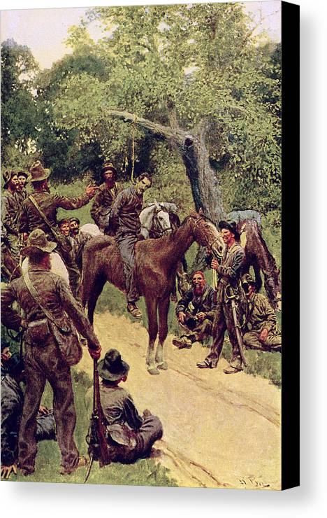 They Canvas Print featuring the painting They Talked It Over With Me Sitting On The Horse by Howard Pyle