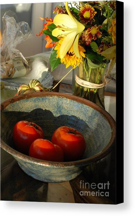 Tomatoes Canvas Print featuring the photograph Tomato Still Life by Andrea Simon