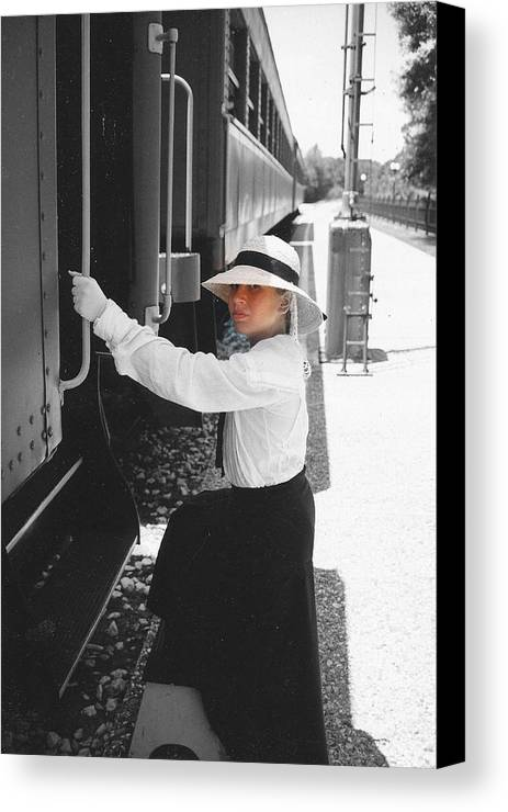 Snood Canvas Print featuring the photograph Traveling By Train - Black And White Focal by Cindy New