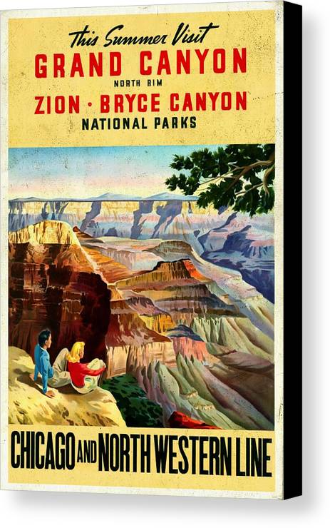 Grand Canyon Vintage Posters Canvas Print featuring the mixed media Visit Grand Canyon - Vintgelized by Vintage Advertising Posters