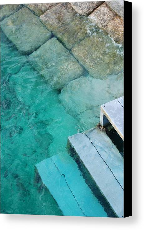 Water Blocks Bricks Canvas Print featuring the photograph Water Steps by Rob Hans