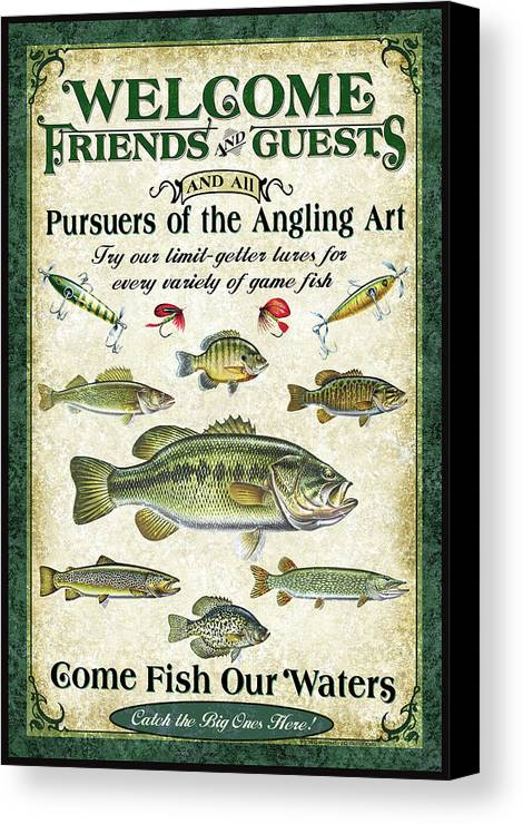 Fish Canvas Print featuring the painting Welcome Friends Sign by JQ Licensing