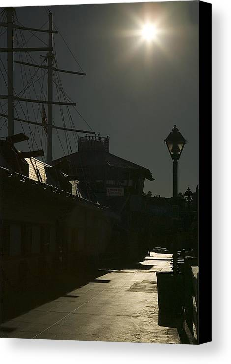 Redondo Beach Canvas Print featuring the photograph Wharf At Night by Clyde Replogle