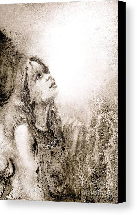 Abstract Canvas Print featuring the drawing Whisper A Little Prayer For Me by Rick Moore