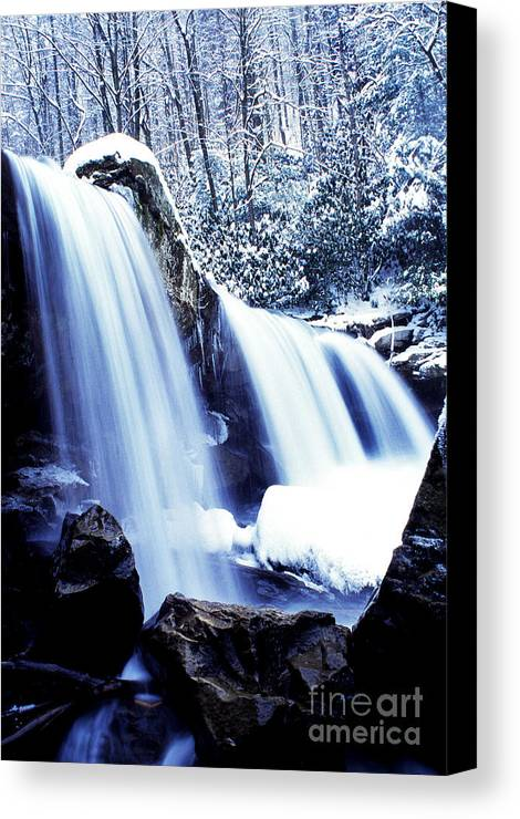 West Virginia Canvas Print featuring the photograph Winter Waterfall by Thomas R Fletcher