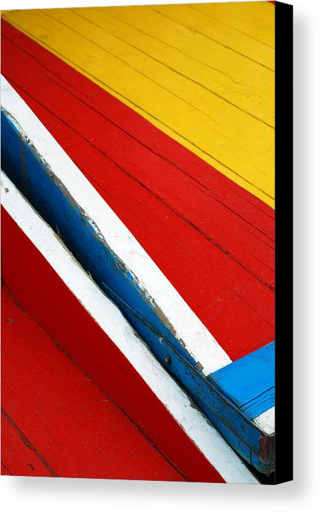 Red Canvas Print featuring the photograph Xochimilco Boat Abstract 1 by Skip Hunt