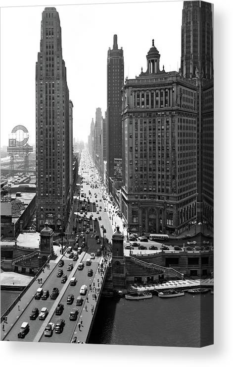 Photography Canvas Print featuring the photograph 1940s Downtown Skyline Michigan Avenue by Vintage Images