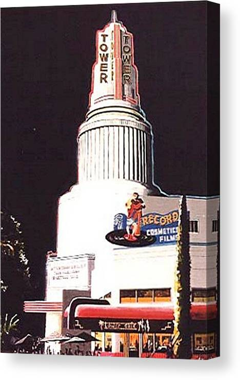 Sacramento Canvas Print featuring the painting Tower Theatre by Paul Guyer