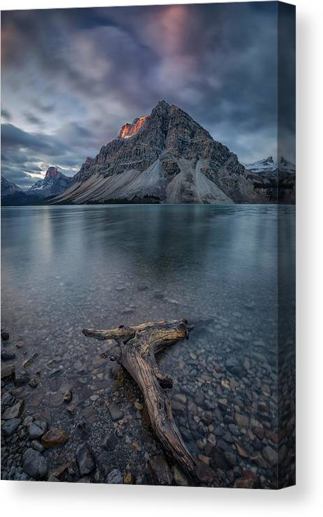 Bow Canvas Print featuring the photograph A Cloudy Day In Bow Lake by Michael Zheng