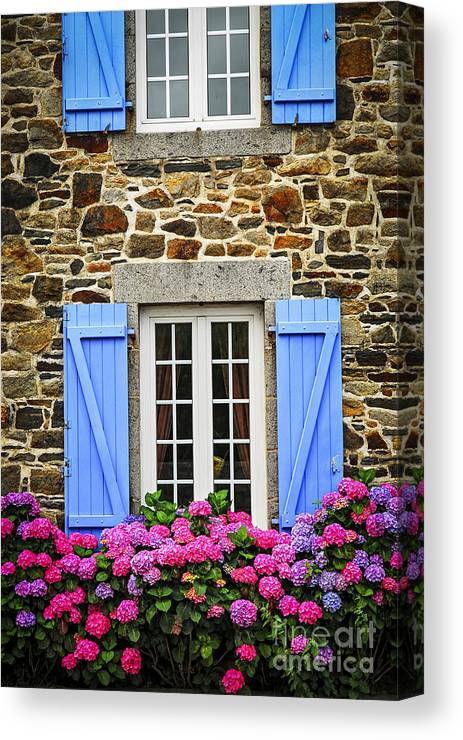 House Canvas Print featuring the photograph Blue Shutters by Elena Elisseeva