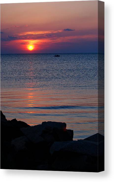 Cape Charles Canvas Print featuring the photograph Cape Charles Rocky Sunset by Francie Davis
