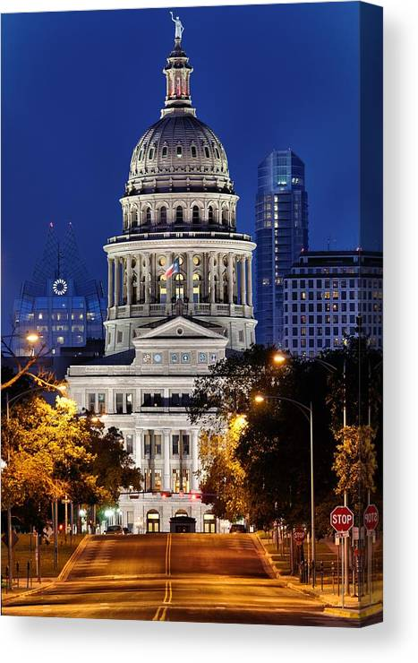 Texas Capitol Canvas Print featuring the photograph Capitol Of Texas by Silvio Ligutti