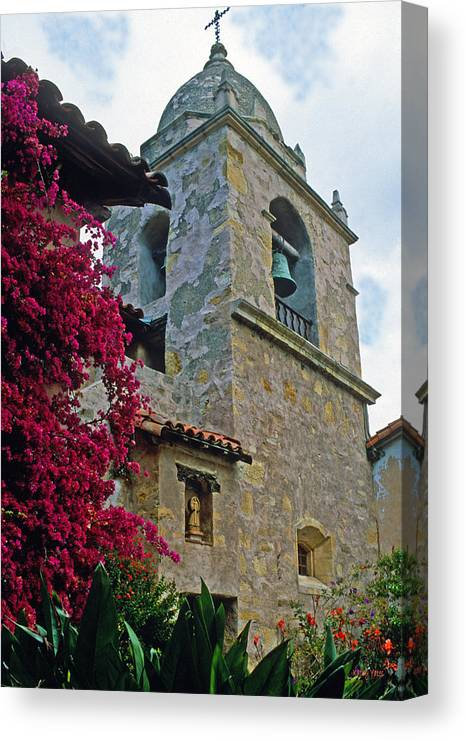 Mission Canvas Print featuring the photograph Carmel Mission Tower by Kathy Yates