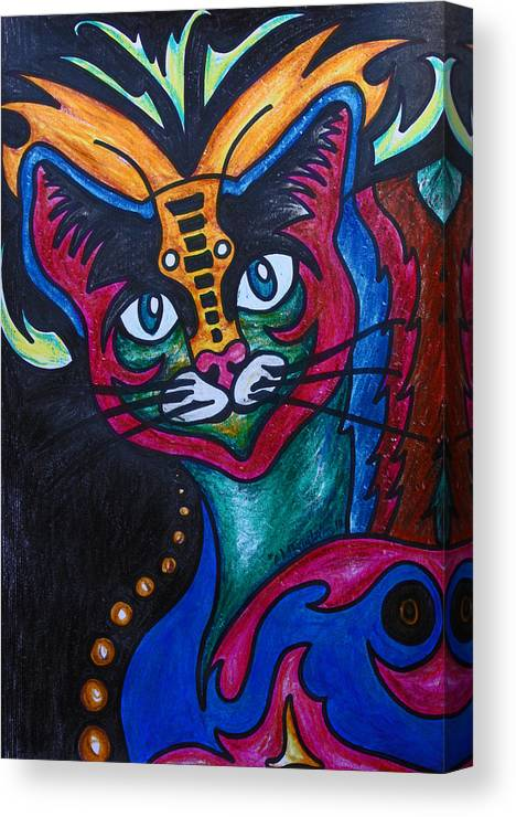Cat Canvas Print featuring the drawing Cat 2 by Carol Tsiatsios