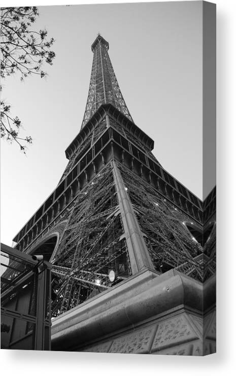 Eiffel Tower Canvas Print featuring the photograph Eiffel Tower In Black And White by Jennifer Ancker