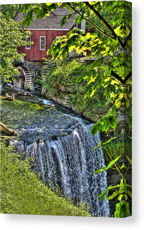 Hdr Canvas Print featuring the photograph Falls.. by Les Lorek