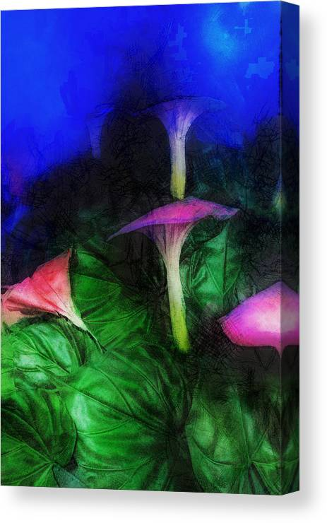 Asia Canvas Print featuring the digital art Fantasy Flowers Lux by David Lange