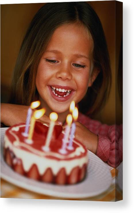 Caucasian Ethnicity Canvas Print Featuring The Photograph Girl 6 Looking At Birthday Cake With