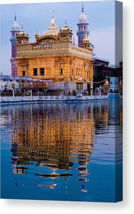 Golden Temple Canvas Print featuring the photograph Golden Temple With Reflection by Devinder Sangha