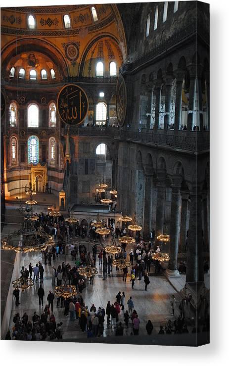 Hagia Sophia Canvas Print featuring the photograph Hagia Sophia Panorama by Jacqueline M Lewis