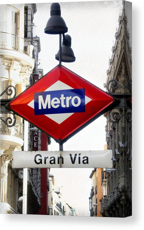 Spain Canvas Print featuring the photograph Madrid Metro Sign by Perry Van Munster