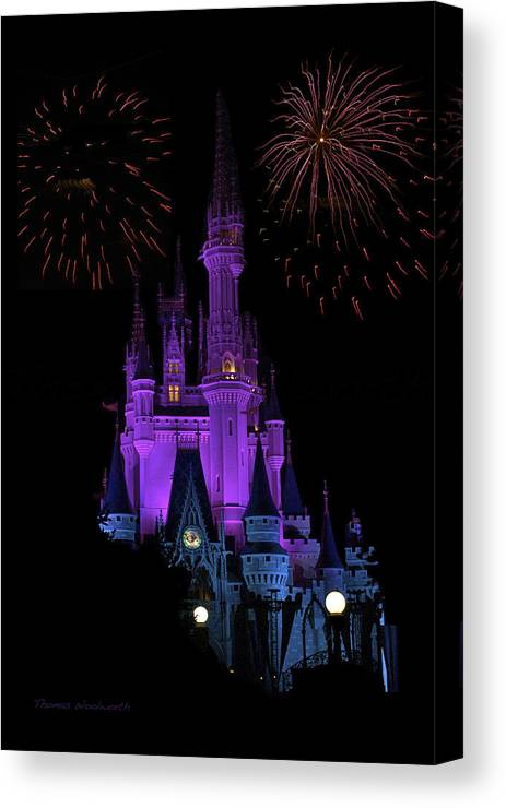 Castle Canvas Print featuring the photograph Magic Kingdom Castle In Purple With Fireworks 01 by Thomas Woolworth