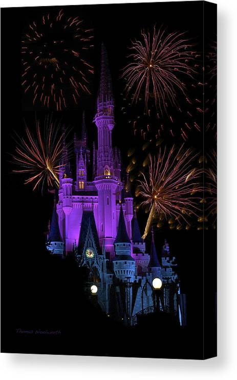 Castle Canvas Print featuring the photograph Magic Kingdom Castle In Purple With Fireworks 03 by Thomas Woolworth